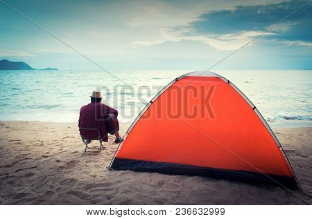 Camping Tents In Starry Night On Seaside