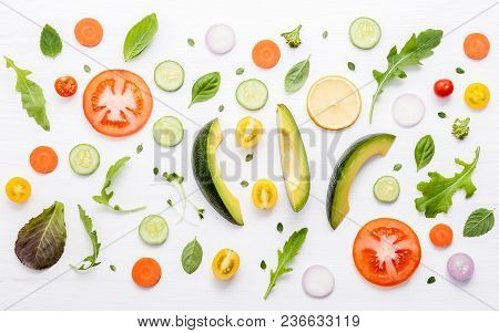 Food Pattern With Raw Ingredients Of Salad, Lettuce Leaves, Cucumbers, Tomatoes, Carrots, Broccoli,