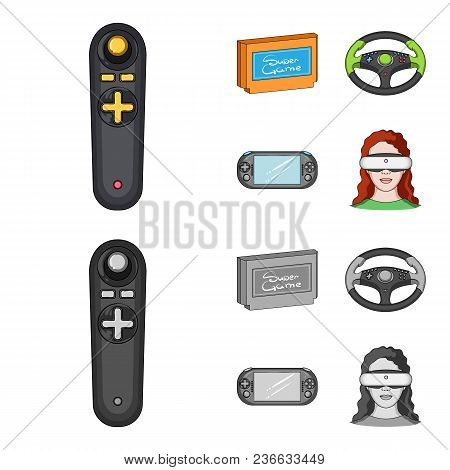 Game Console And Joystick Cartoon, Monochrome Icons In Set Collection For Design.game Gadgets Vector