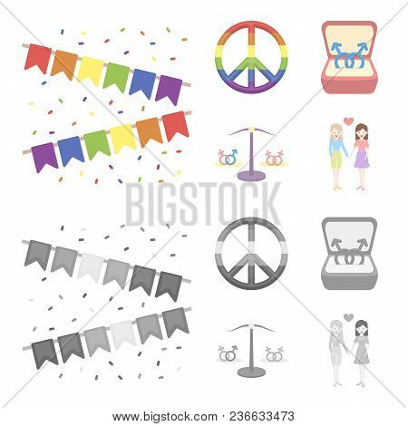 Flags, Rainbow, Emblem, Rings. Gay Set Collection Icons In Cartoon, Monochrome Style Vector Symbol S