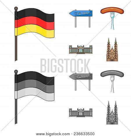 Country Germany Cartoon, Monochrome Icons In Set Collection For Design. Germany And Landmark Vector