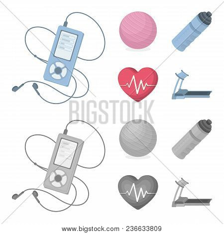 Player, A Bottle Of Water And Other Equipment For Training.gym And Workout Set Collection Icons In C