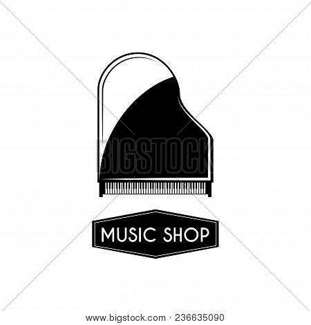Grand Piano Icon. Music Shop Logo Label Emblem. Musical Instrument. Vector Illustration.
