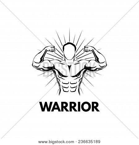 Strongman, Bodybuilder. Muscular Man. Sportsman. Athlete Fitness Sport Training Vector Illustration