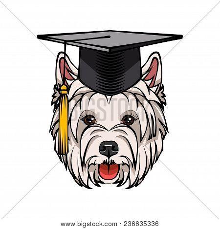 West Highland White Terrier Dog Graduate. Graduation Hat Cap. Dog Breed. Vector Illustration