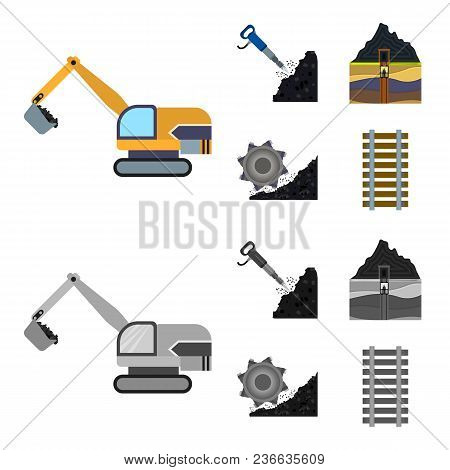 Excavator, Tunnel, Elevator, Coal Harvester And Other Equipment.mine Set Collection Icons In Cartoon
