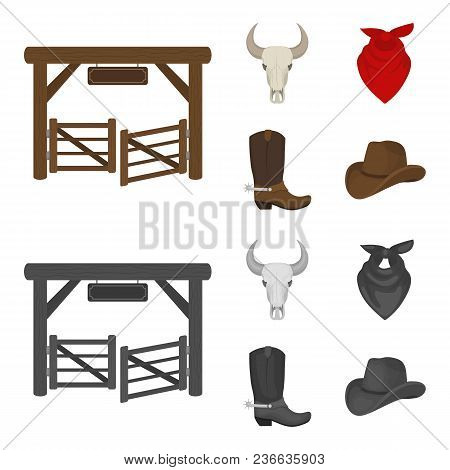 Gates, A Bull Skull, A Scarf Around His Neck, Boots With Spurs. Rodeo Set Collection Icons In Cartoo