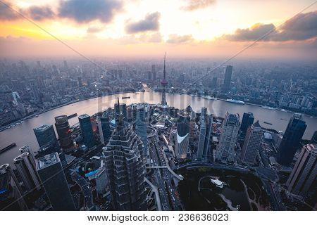 Shanghai Skyline Cityscape, Aerial View Of Shanghai, Shanghai Lujiazui Finance And Business District