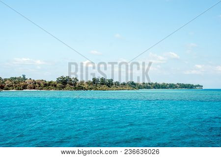 Away Havelock Island. View From The Sea. Trees In Sea Water On The Coast Of The Andaman Sea