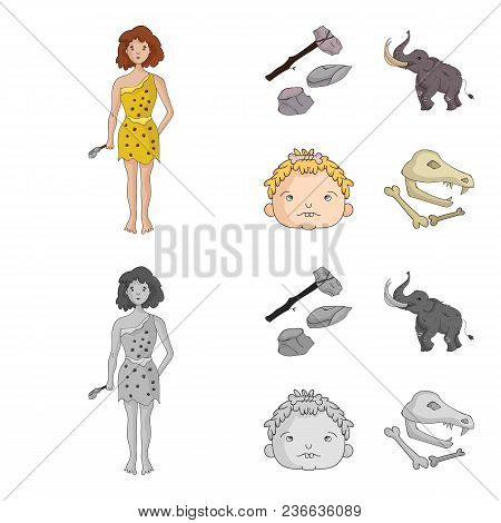 Weapon, Hammer, Elephant, Mammoth .stone Age Set Collection Icons In Cartoon, Monochrome Style Vecto