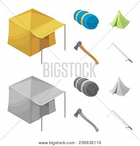 Tent With Awning, Ax And Other Accessories.tent Set Collection Icons In Cartoon, Monochrome Style Ve