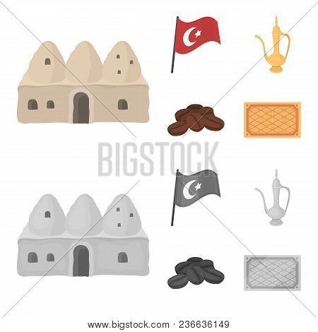 House Hive, National Flag, Coffee Pot Copper, Grains Coffee.turkey Set Collection Icons In Cartoon,