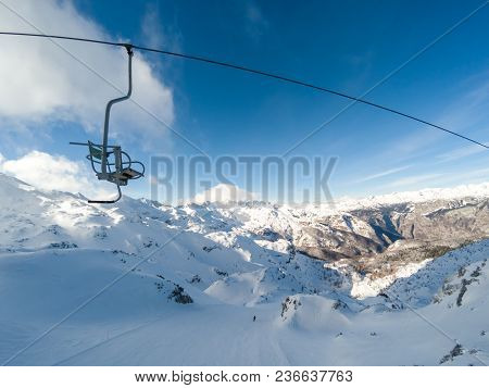 Beautiful Mountains Old Chair Lift Ski Resort In Alps