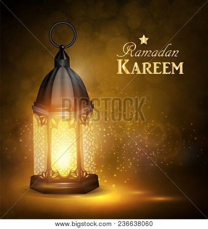 Ramadan Kareem Greetings With Colorful Lantern In A Dark Glowing Background. 3d Realistic Vector Ill