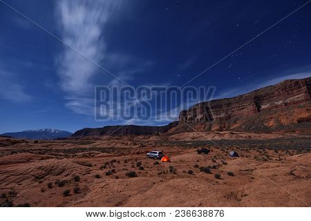 Car Camping Under The Moonlight
