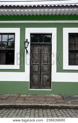 City Morretes Brazil Old Light Chandelier Design Wooden Door Glass Windows Green  Wall