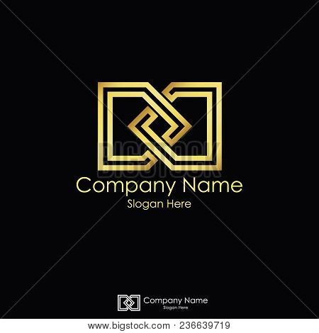 Infinity Initial Letter Dd. Letter D Logo Design. Linked Square Gold Ribbon. Black Background.