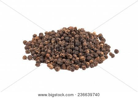 Heap Of Black Peppercorns Isolated On White Background