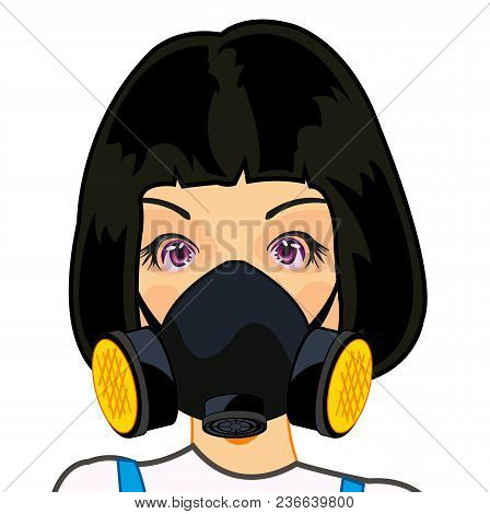 Person Of The Young Girl In Protectors Respirator