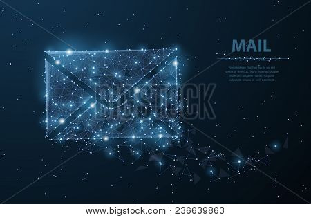 Message. Polygonal Wireframe Mesh Looks Like Constellation On Dark Blue Night Sky With Dots And Star