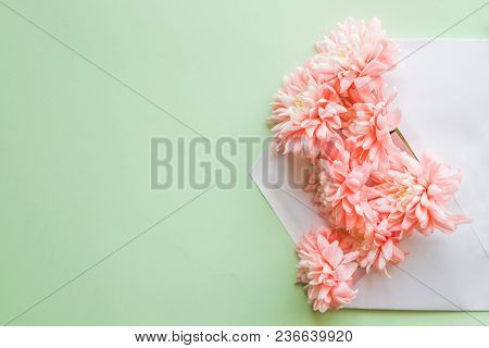 Flower Composition For Greeting Card.with Chrysanthemums And Envelope.wedding Invitation Cards Or Lo