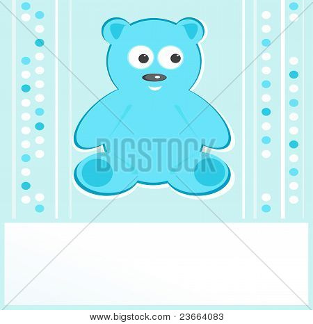 Teddy bear for baby boy - baby arrival announcement. vector poster