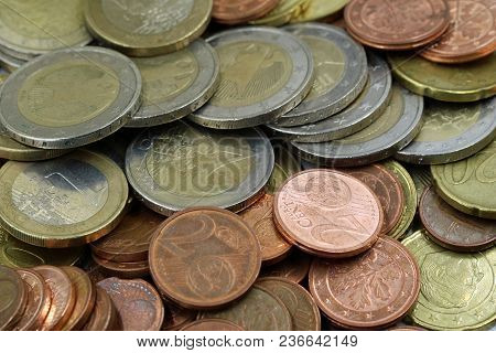Used Euro Coins Background, Close Up, Top View, Cent
