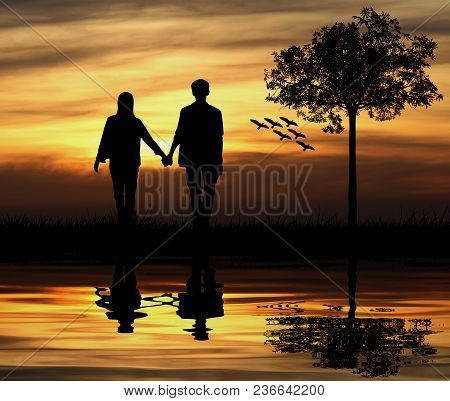 Silhouette Of Couple Man And Woman At Tree And Birds With Sunset Background, Love Concept.
