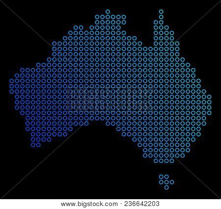 Circle Dot Australia Map. Vector Geographic Map In Blue Gradient Colors On A Black Background. Vecto