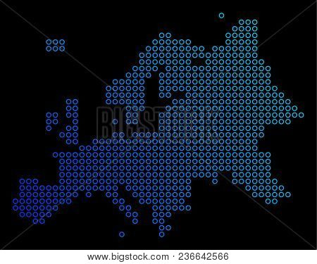 Round Dot Europe Map. Vector Geographic Map In Blue Gradient Colors On A Black Background. Vector Mo