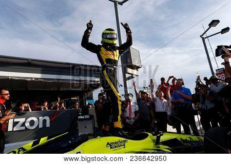 April 06, 2018 - Avondale, Arizona, USA: SŽbastien Bourdais (18) wins the pole award for the Desert Diamond West Valley Casino Phoenix Grand Prix at ISM Raceway in Avondale, Arizona.