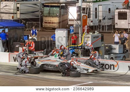 April 07, 2018 - Avondale, Arizona, USA: Will Power (12) brings his car down pit road for service during the Desert Diamond West Valley Casino Phoenix Grand Prix at ISM Raceway in Avondale, Arizona.