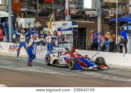 April 07, 2018 - Avondale, Arizona, USA: Matheus Leist (4) leaves the pit box with one wheel loose during the Desert Diamond West Valley Casino Phoenix Grand Prix at ISM Raceway in Avondale, Arizona.