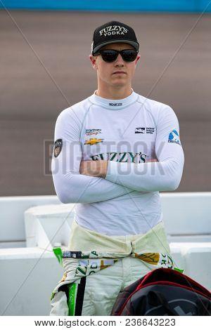 April 06, 2018 - Avondale, Arizona, USA: Spencer Pigot (21) prepares to qualify for the Desert Diamond West Valley Casino Phoenix Grand Prix at ISM Raceway in Avondale, Arizona.