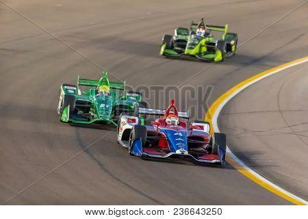 April 07, 2018 - Avondale, Arizona, USA: Matheus Leist (4)  races through the turns during the Desert Diamond West Valley Casino Phoenix Grand Prix at ISM Raceway in Avondale, Arizona.