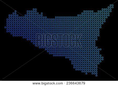Round Dot Sicilia Map. Vector Geographic Map In Blue Gradient Colors On A Black Background. Vector C