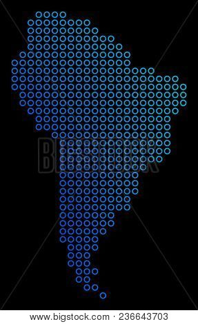 Circle Dot South America Map. Vector Geographic Map In Blue Gradient Colors On A Black Background. V
