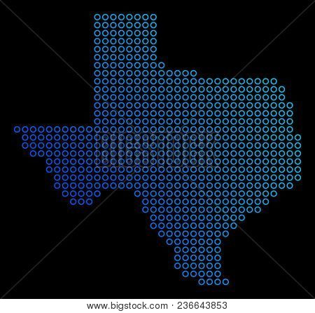 Circle Dot Texas Map. Vector Geographic Map In Blue Gradient Colors On A Black Background. Vector Pa