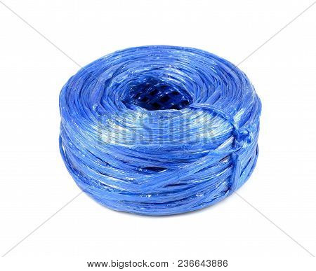 Blue Plastic Rope Isolated On White Background.plastic String Isolated