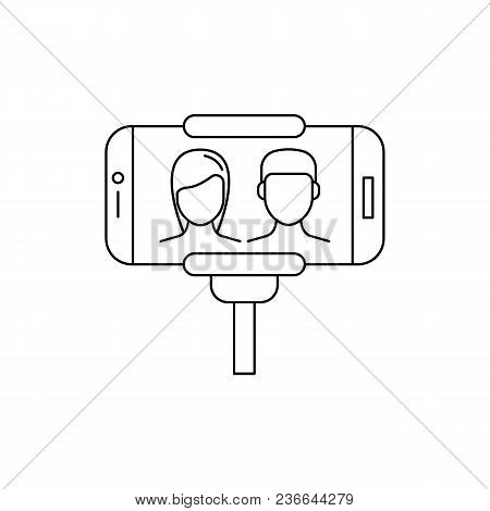 Man And Woman Make Selfie. Outline Man And Woman Make Selfie Vector Illustration For Web Design Isol