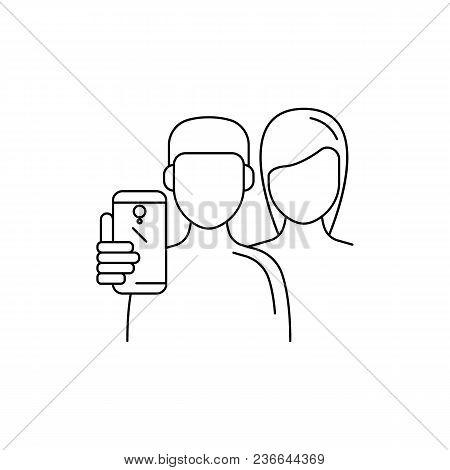 Boy And Girl Make Selfie. Outline Boy And Girl Make Selfie Vector Illustration For Web Design Isolat