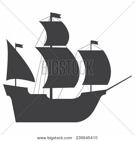 Sailing Ship In Flat Style A Vector.naval Frigate.