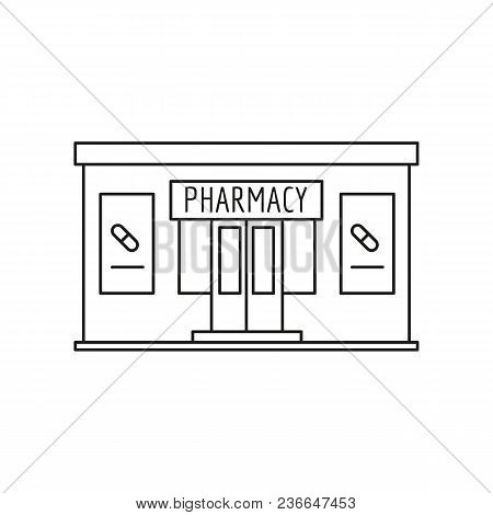 Pharmacy Front Icon. Outline Pharmacy Front Vector Icon For Web Design Isolated On White Background