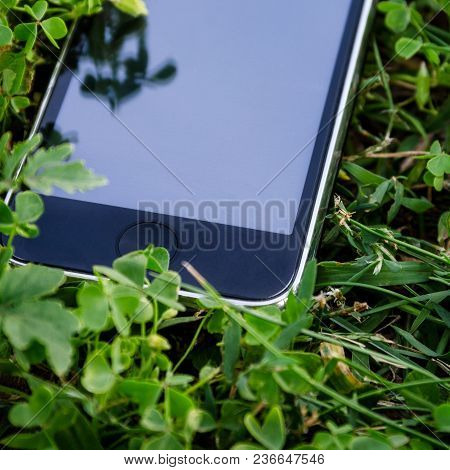 Close-up Of Touch Screen Smartphone Lying On The Green Grass, No Trade Marks