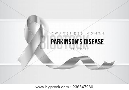 Banner With Parkinsons Disease Awareness Realistic Ribbon. Design Template For Websites Magazines