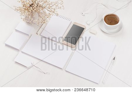Branding Business Mock Up Of White Blank Stationery Set, Phone,  Flowers, Coffee Cup On Light Soft W