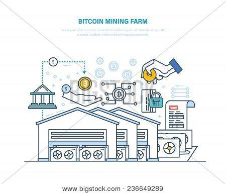 Bitcoin Mining Farm. Computer Data Processing Center, Bitcoin Mining, Implementation And Processing
