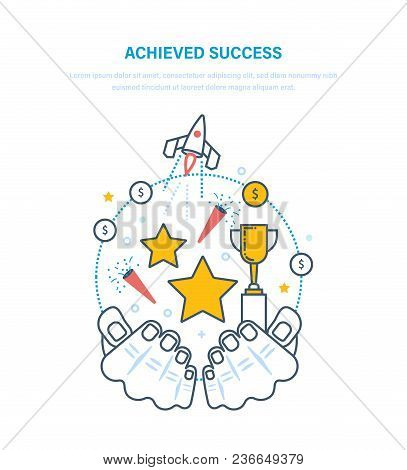 Achieved Success. Sporting Achievements, Successful Startup Projects, Career Growth, Leadership, Emo