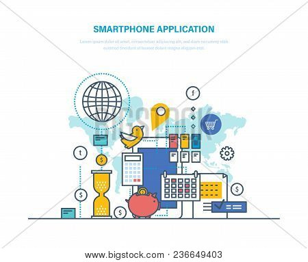 Smartphone Application. Software For Mobile Devices. Electronic Applications For Phones. Interaction