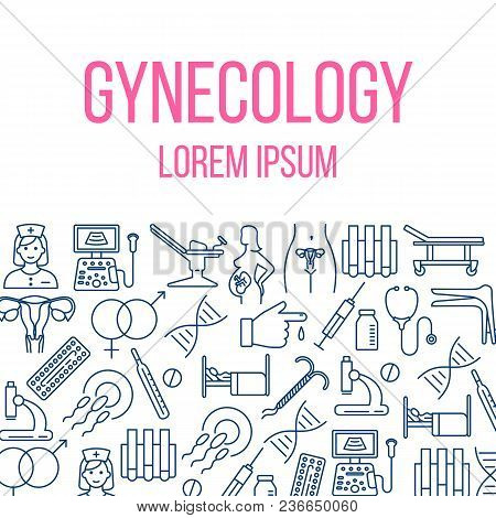 Gynecology Poster With Flat Line Icons Of Pregnancy Obstetrics Gynecology Diagnostic Equipment Symbo